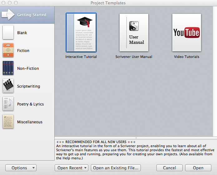 Starting a new project in scrivener simply scrivener project templates getting started pronofoot35fo Images