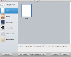 Project Templates: Blank, Blank