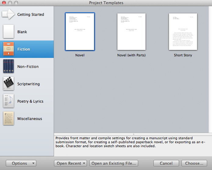 Starting a new project in scrivener simply scrivener project template fiction novel pronofoot35fo Images