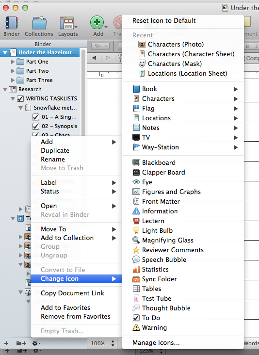 changing icons - Scrivener Resume Template