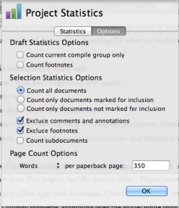 Project Statistics Options